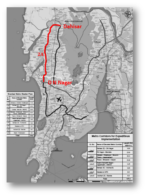 Mumbai Subway Map.Mumbai Metropolitan Region Development Authority Metro Line 2